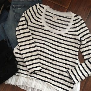 Anthropologie Postmark Stripe Ruffle Top S